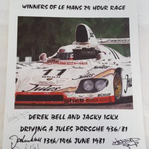 1981 Lemans Poster 4 Autographs