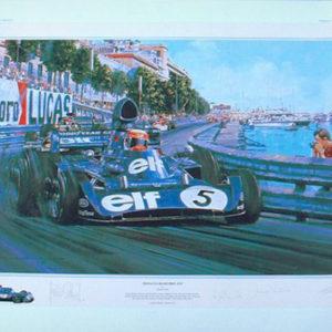 Vintage car racing artwork by Nicholas Watts - Monaco Grand Prix 1973
