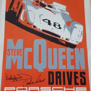 Steve McQueen Drives Autographed Poster