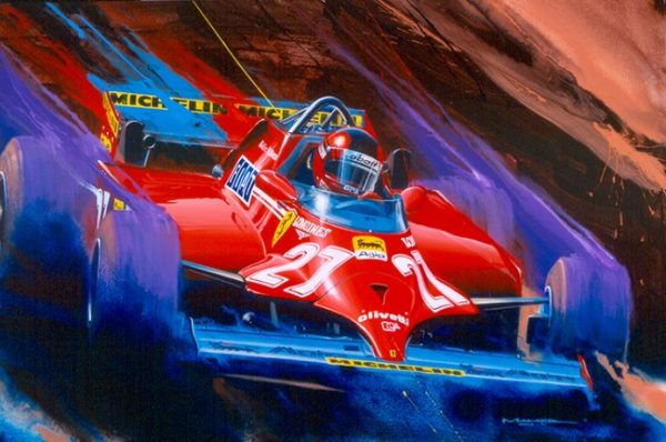 Gilles Villeneuve Ferrari Print by Charles Maher
