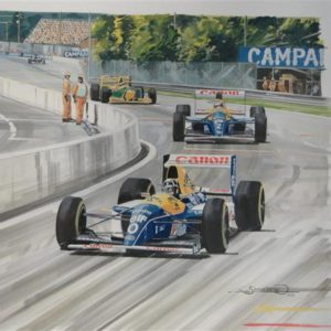 Damon Hill F1 Watercolor Painting - Simon Ward