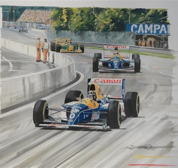 Damon Hill F1 Watercolor Painting - Simon Ward