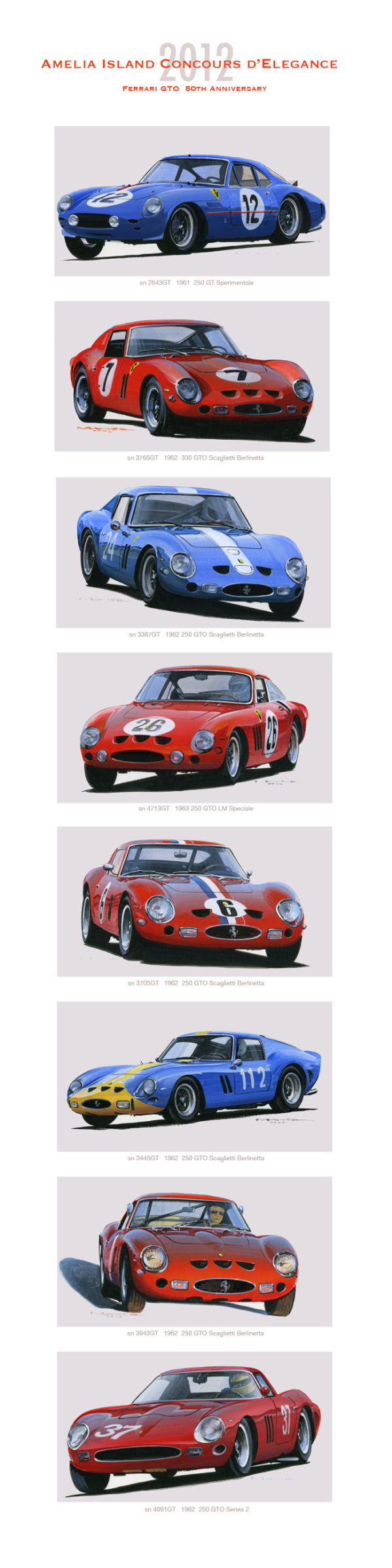 Car racing artwork for sale Amelia 2012 of GTO by Charles Maher