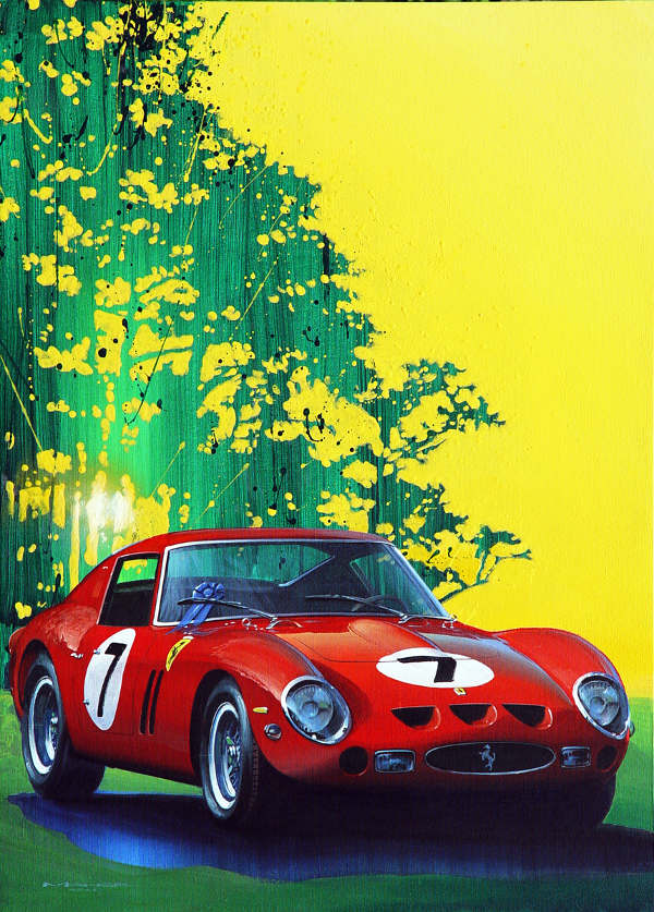 Car racing art poster for sale titled Lucky 7 by Charles Maher