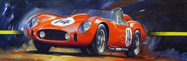 Vintage car racing artwork for sale - Phil Hill Testa Rossa