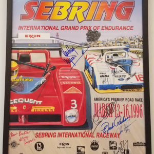 1996 Sebring Poster with multiple signatures