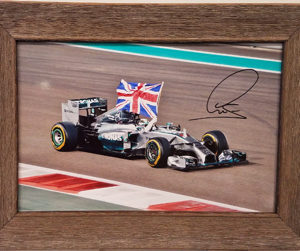 Lewis Hamilton Autographed Photo National Flag Day