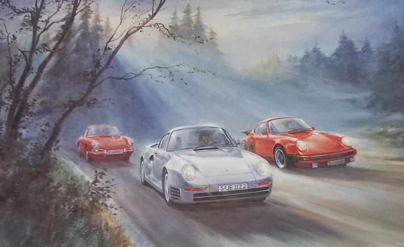 Porsche Pedigree Alan Fearnley Print