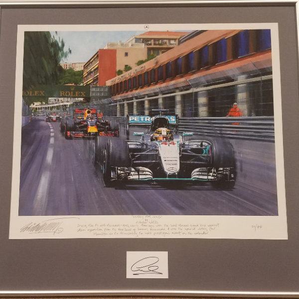 Framed Victory for Lewis with Lewis Hamilton Autograph
