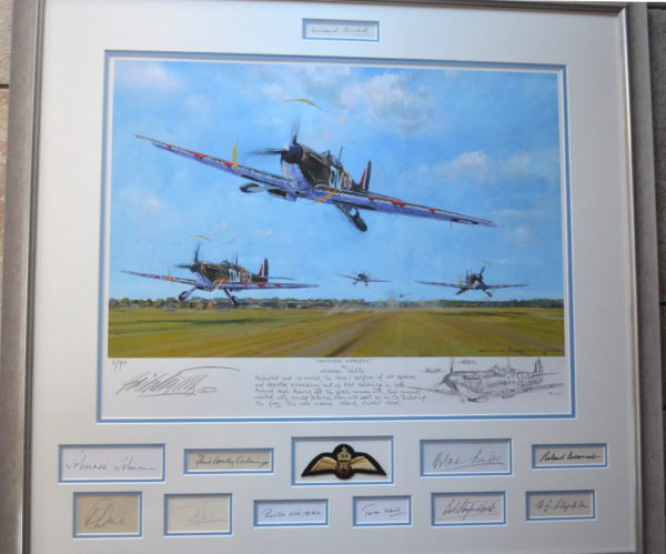 Squadron Scramble Framed Print with 11 Signatures including Sir Winston Churchill
