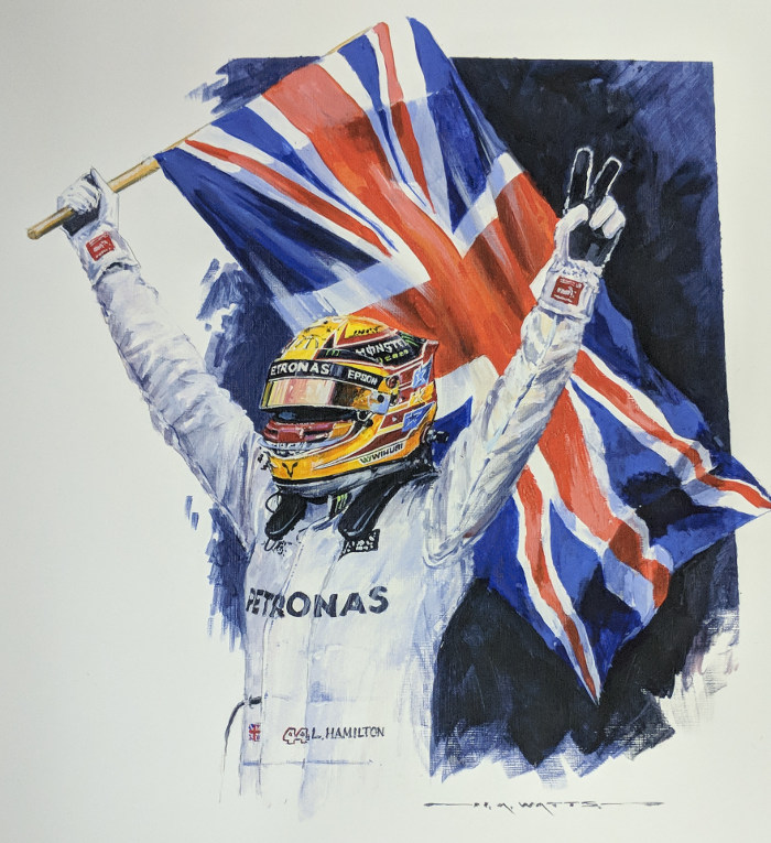 Lewis Hamilton Quadruple Champion - Watts - Closeup