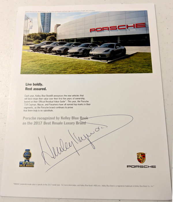 Porsche Recognized by Kelley Blue Book Signed by Haywood