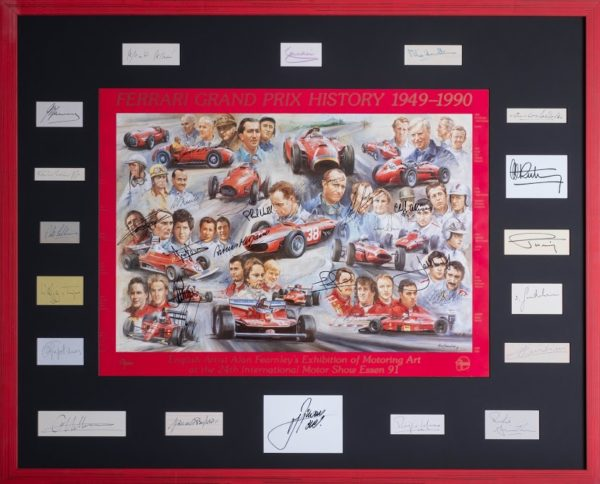 Ferrari Grand Prix History Framed with Signatures